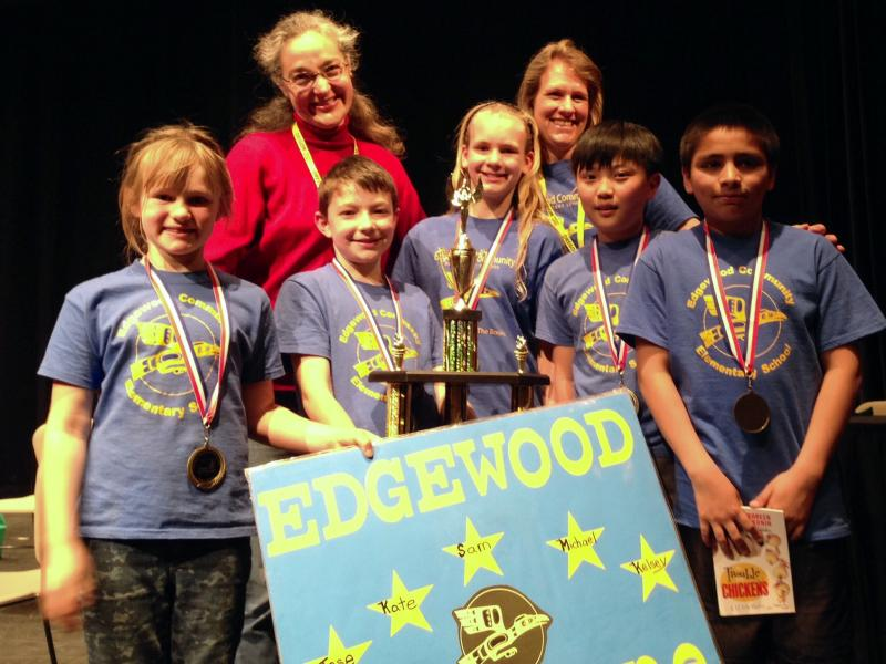 OBOB's new state champions from Edgewood Elementary in Eugene are Kelsey Bouse (3rd grade), Michael Ahn (5th), Katelyn Bouse (5th), Sam Collier (5th), Jose Santiago (5th) and Co-coaches (volunteers) Bree Bouse & Kristin Collier.