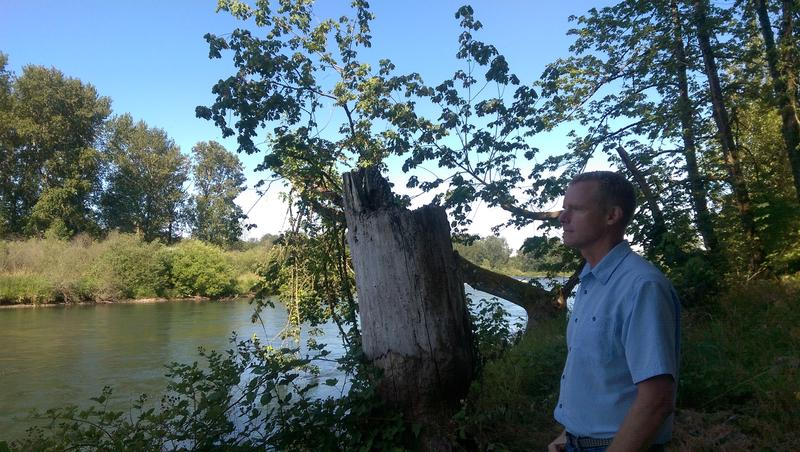 McKenzie River Trust Executive Director Joe Moll looks at the river.