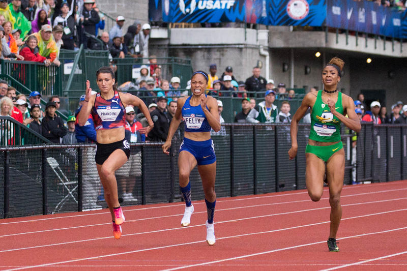 Jenna Prandini (right) beat Allyson Felix (middle) by .01 second in the 200 meter finals at Hayward Field.