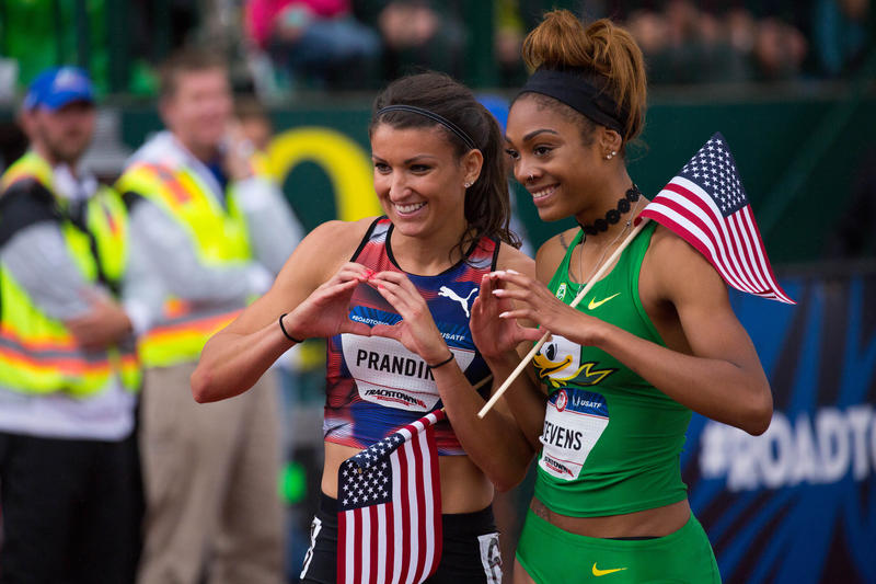 UO Ducks Jenna Prandini (left) and Deajah Stevens are going to the Olympics in Rio.