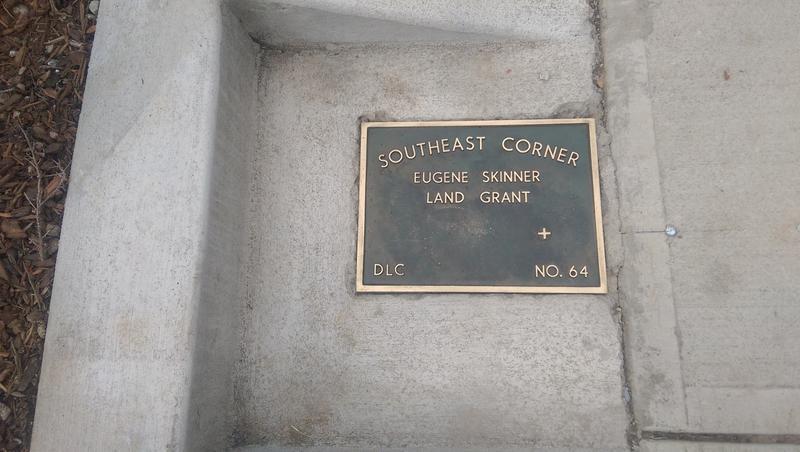 The plaque marks the sw corner of the original Skinner land claim.