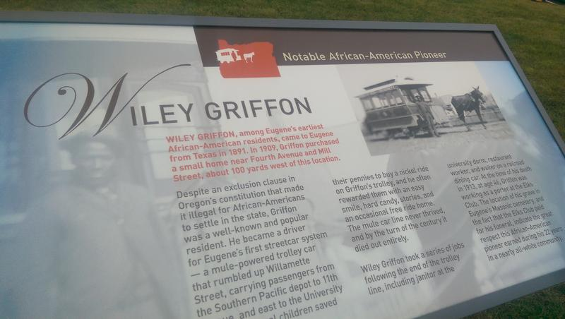 The new plaque is near EWEB headquarters, about 100 feet from the site of Griffin's house.