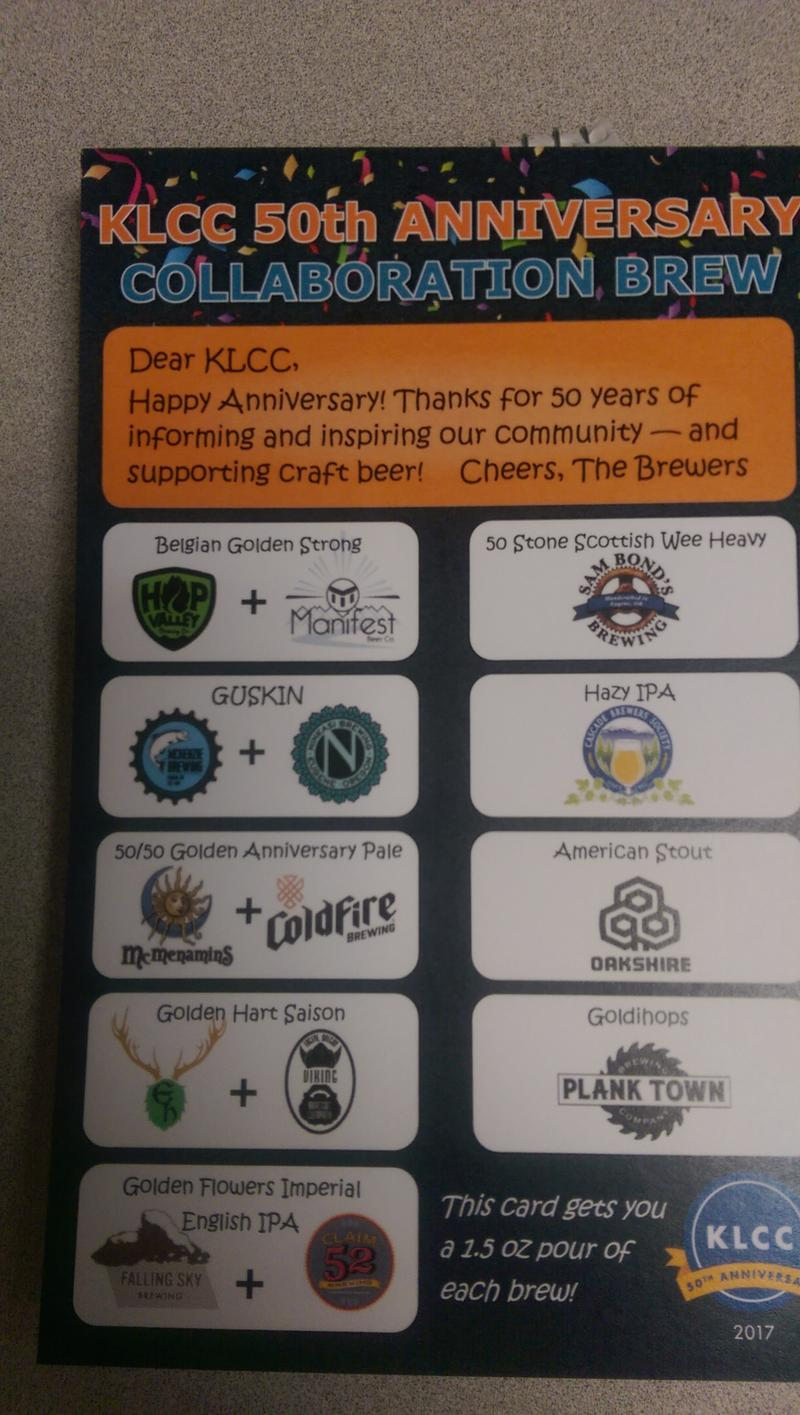 Nine local breweries participated in the collaboration brew for the KLCC brewfest. Festival goers can purchase this tasting card to sample all 9 collaboration beers.