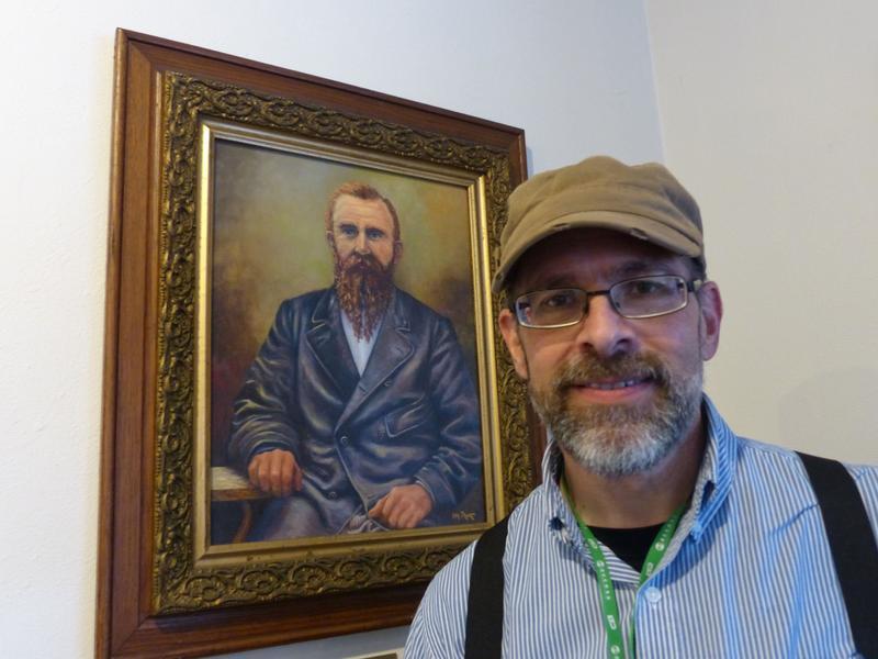 Springfield Museum docent Paco Shiraldi describes town founder Elias Briggs