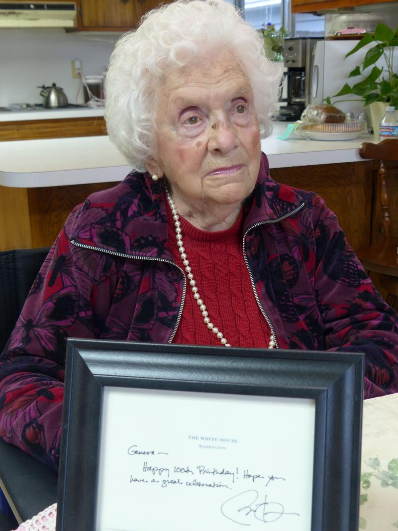 Ken Kesey's mom, Geneva Jolley, turned 100. Received a card from President Obama.