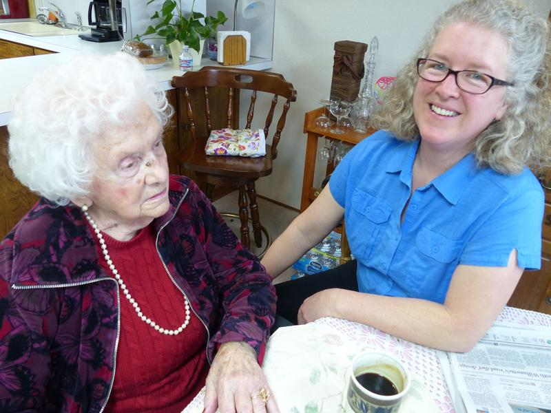 Sunshine Kesey sits with her Grandmother, Geneva Jolley.