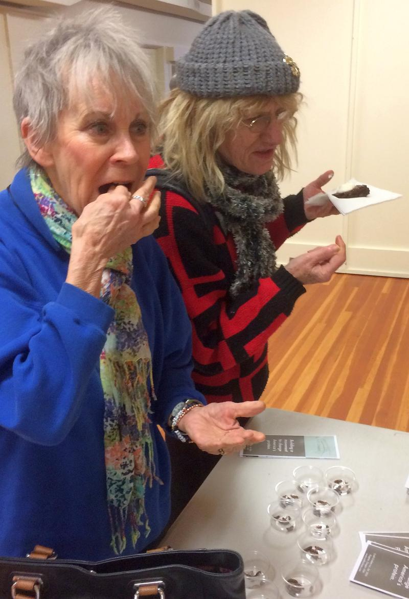 Audobon Society members try their first crickets.