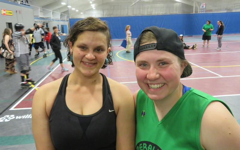 Tierra Arthurs and Lisa Eytel, of Emerald City Roller Derby.