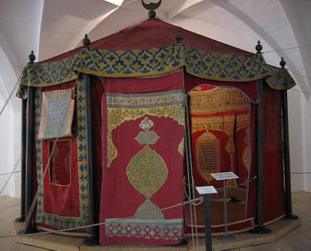 Grand Vizier's tent of Ottoman Empire, from the 1600s.  Another example of glamping?
