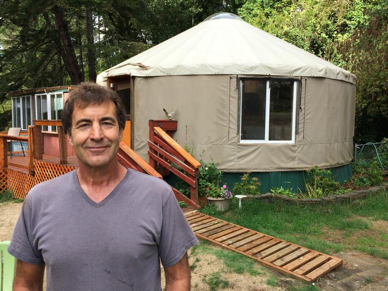 Gary Dimon, in front of a yurt at Siltcoos Lake Resort.