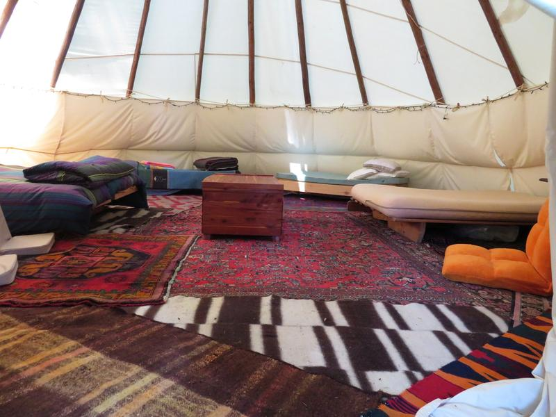 Furnished interior of the Crazy Horse tipi
