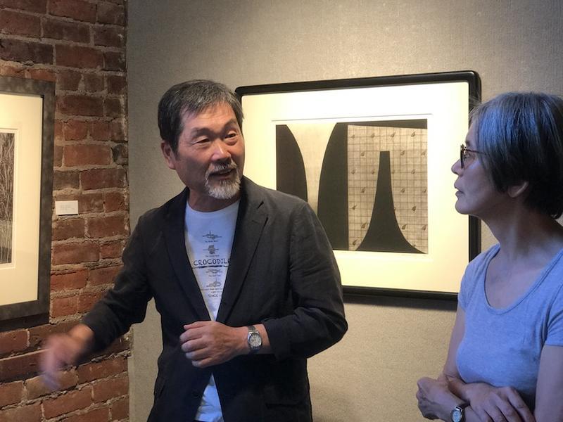 Mezzotint artist Katsunori Hamanishi and translator artist Satoku Matouji from the arts faculty of Lane Community College
