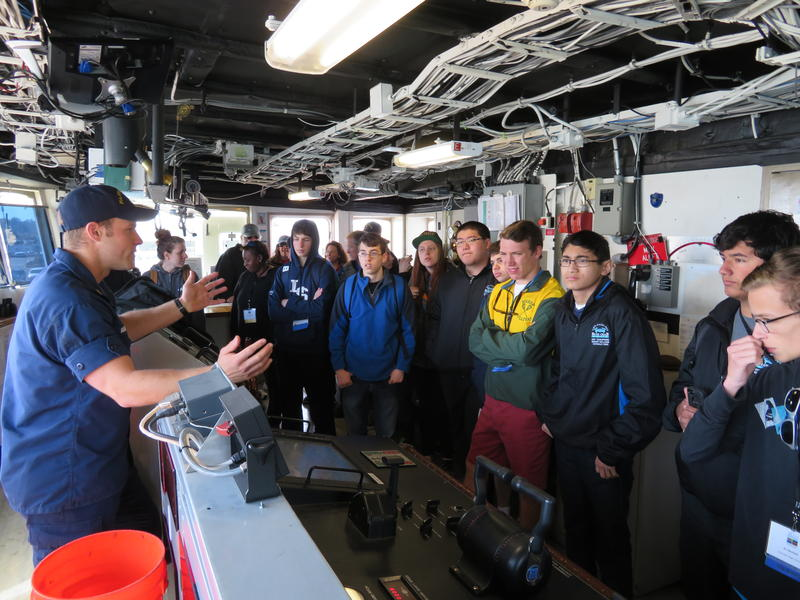 Visiting students learn about bridge operations