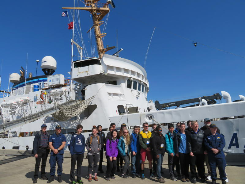 Visiting students outside the NOAA research vessel, the Fairweather