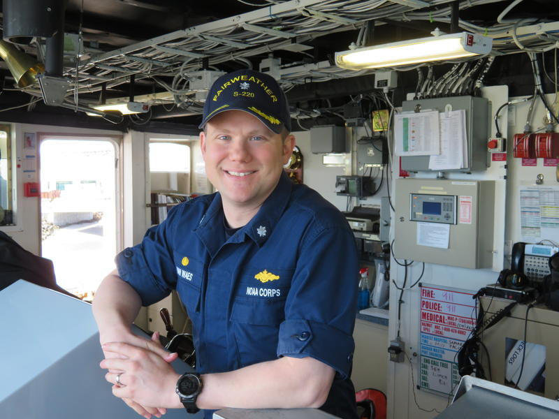 Commander Mark VanWaes on the Fairweather's bridge.