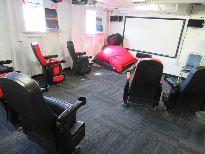 Lounge with wide screen for movies