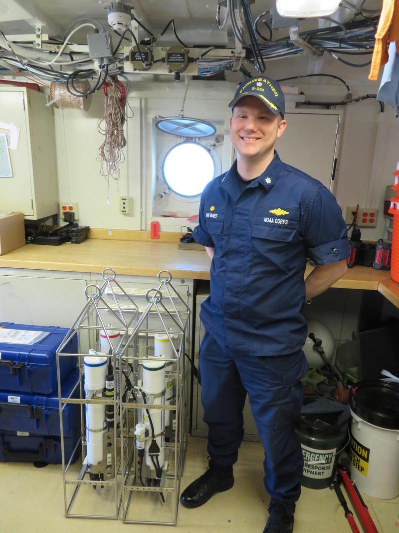 Commander VanWaes in oceanographic lab