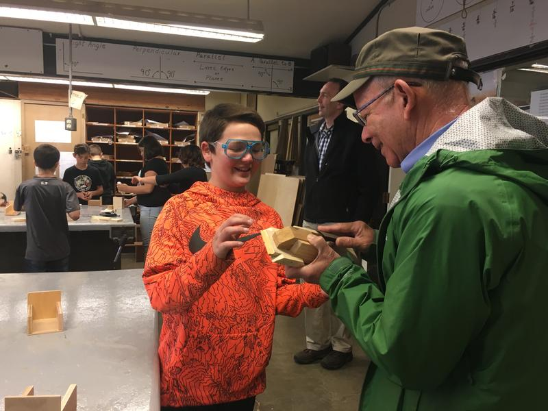 Congressman DeFazio visits the 6th grade woodshop class at Hamlin.
