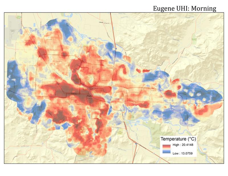 A map showing temperature readings taken in the morning in Eugene last summer.
