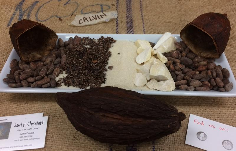 A display at a recent chocolate sampling educates guests on the chocolate making process.