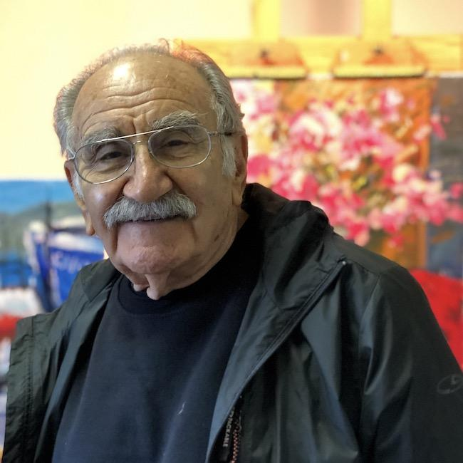 Sarkis Antikajian in his painting studio in Cheshire, Oregon