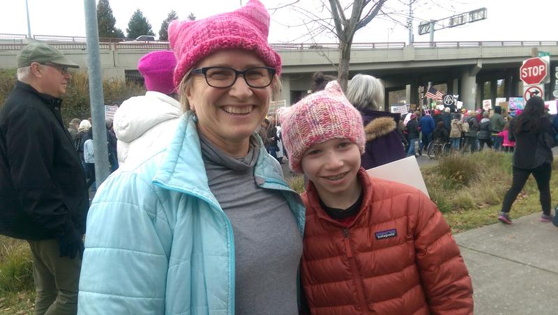 Audrey Garrett and her son at the Women's March in Eugene.