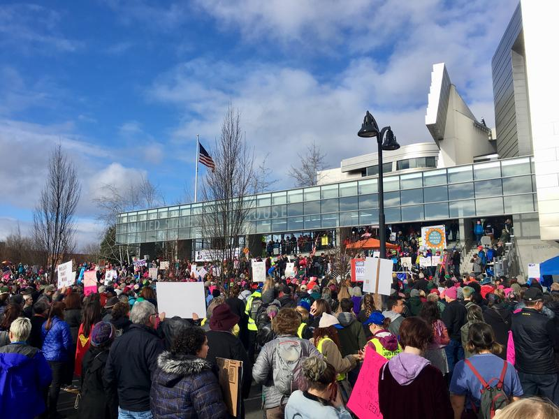 The crowd rallies outside the Eugene Federal Building Saturday.