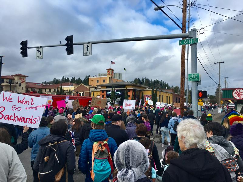 Participants in the Women's March filled Eugene's downtown streets Saturday.
