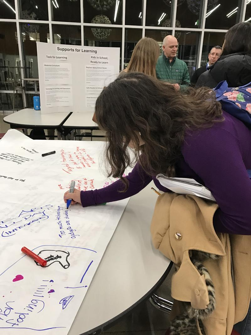 Community members were urged to contribute thoughts on potential school bond