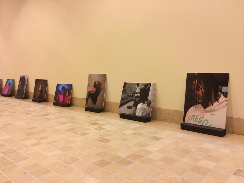 Portraits from the exhibit lined up prior to being hung on the museum's walls