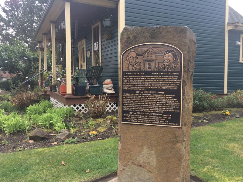 A memorial acknowledges the life and work of the Mims family in front of the Mims House at 336 High St. in Eugene