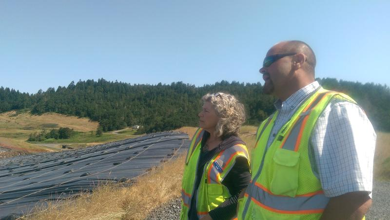 Lane County Waste Reduction Specialist Sarah Grimm and Supervisor Keith Hendrix at Short Mountain Landfill.