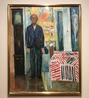 "Self-portrait of Edvard Munch in the last year of his life, ""Between the Clock and the Bed, 1940–1943"""