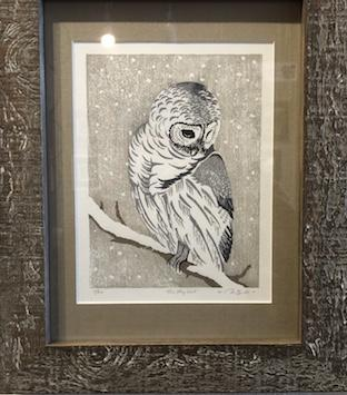 """Shy Owl"" Linotype by Diane Sandall at Out on a Limb Gallery"