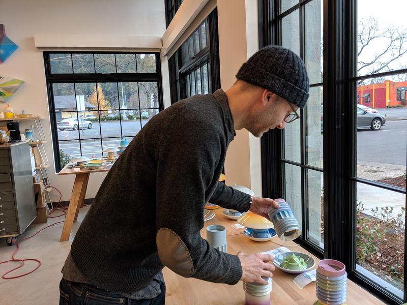 Professor Trygve Faste in his studio in the 510 Oak building.