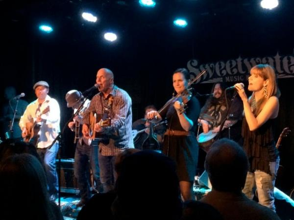 Tim Flannery and the Lunatic Fringe on stage in Mill Valley, CA. (Left to right: Shawn Rohlf, Brent McClain, Tim Flannery, Dennis Caplinger, Turi McClain, Jeff Berkley, Randi Driscoll. Not shown: Doug Pettibone, Barbara Nesbitt...)