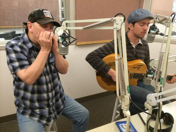 Bob Beach (left, harmonica) and David Jacobs-Strain (right, guitar and vocals) in the KLCC studios.