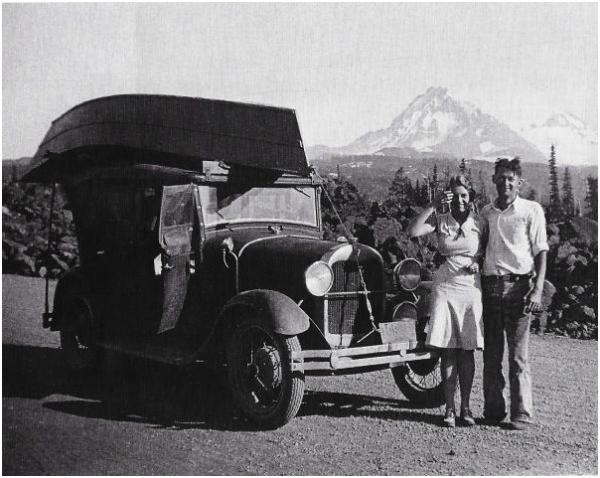 Prince and Marjorie Helfrich on the McKenzie Pass in the Oregon Cascade Mountains, circa 1930.