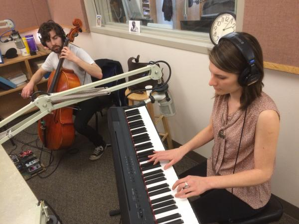 Robin Bacior (keyboards, vocals) and Dan Bindschedler (cello) in the KLCC studios.
