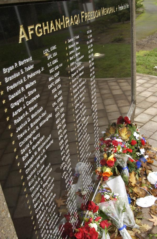 The Afghan-Iraqi Freedom Memorial at the Oregon Department of Veterans' Affairs in Salem, Ore.