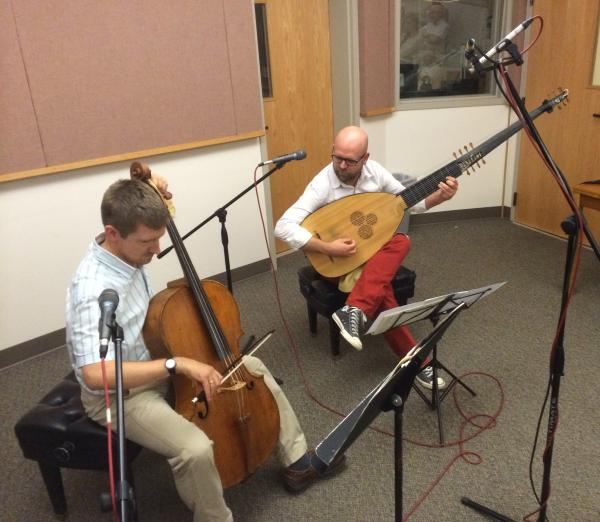 Jonathan Manson on cello and Simon Martyn-Ellis on theorbo in the SELCO Performance Hall of the KLCC studios.