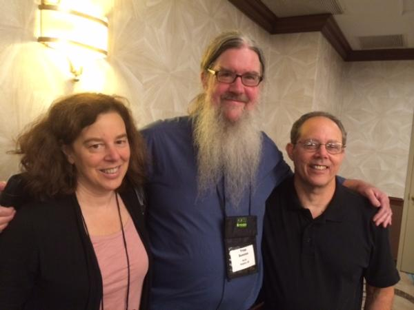 KLCC News Director Tripp Sommer (c) with NPR reporters and KLCC alum Andrea deLeon and Howard Berkes at the PRNDI Conference.