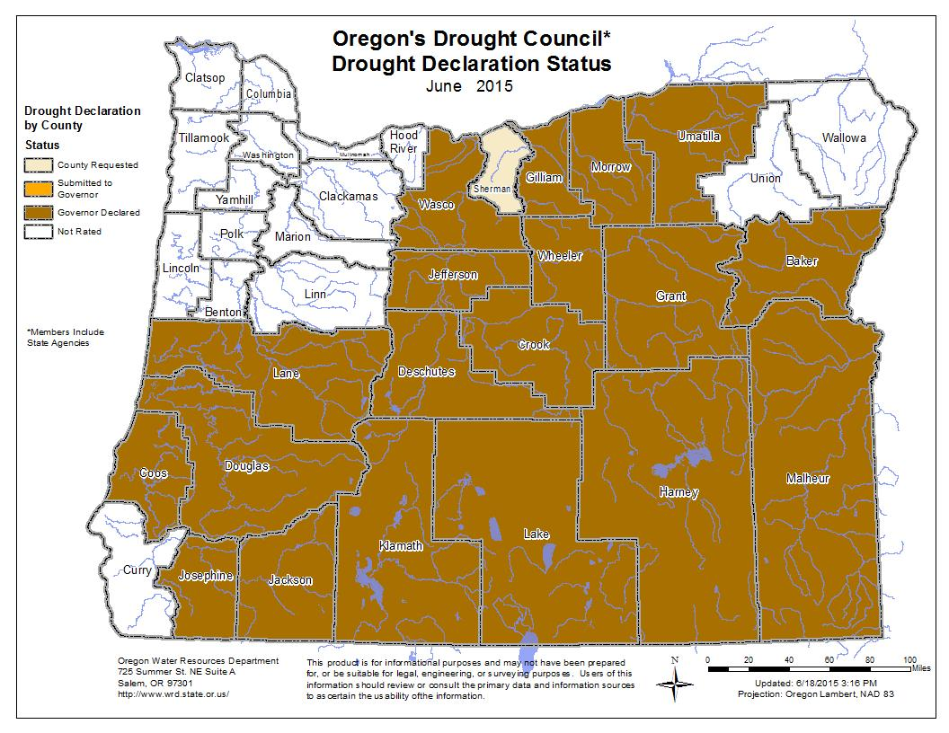 oregon governor declares drought emergency in sherman county oregon