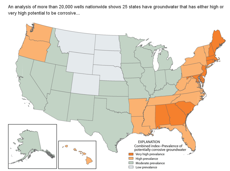 usgs map showing states by their potential for groundwater corrosion