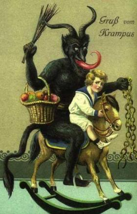 Postcard featuring Krampus, a goat-like creature who snatches up children to eat.