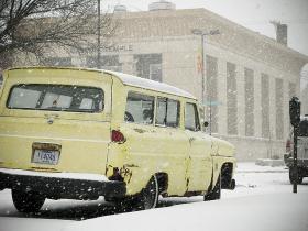 A car experiences Kansas winter.