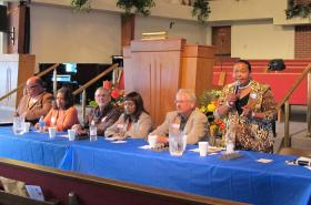 (L-R) Rodrick Houston, Kenya Cox, Barry Stanley, Gail Finney, Patrick Cantwell, Oletha Faust-Goudeau