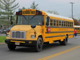 A school bus waiting for students