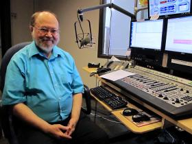 Frank Dudgeon in the KMUW control room, where he spent many early mornings hosting Morning Edition.