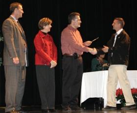 Teachers from Wichita Public Schools receive awards at a past ceremony.